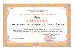 UBND Quận 8 tặng giấy khen do có thành tích xuất sắc....